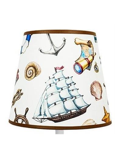 Şenay Aydınlatma Masa Lambası Kumaş B.Abajur-Beyaz Yelkenli Renkli